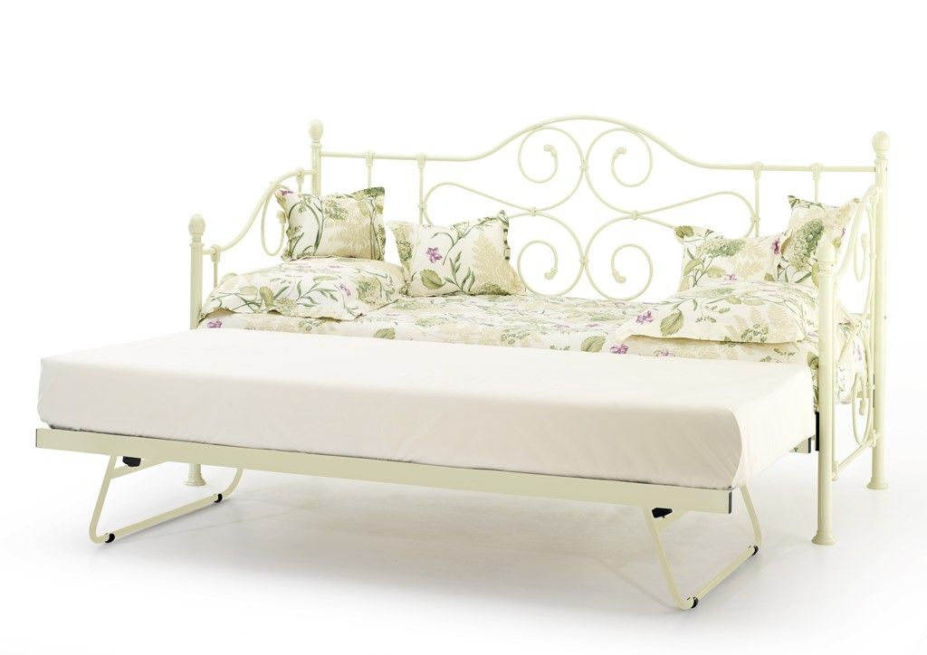 florence ivory gloss single day bed with underbed trundle. Black Bedroom Furniture Sets. Home Design Ideas