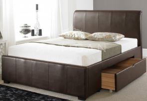 Artisan Aphrodite Leather Drawer Bed Brown 4'6