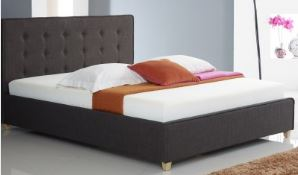 Artisan Ares Fabric Button Bedframe Brown 4'6