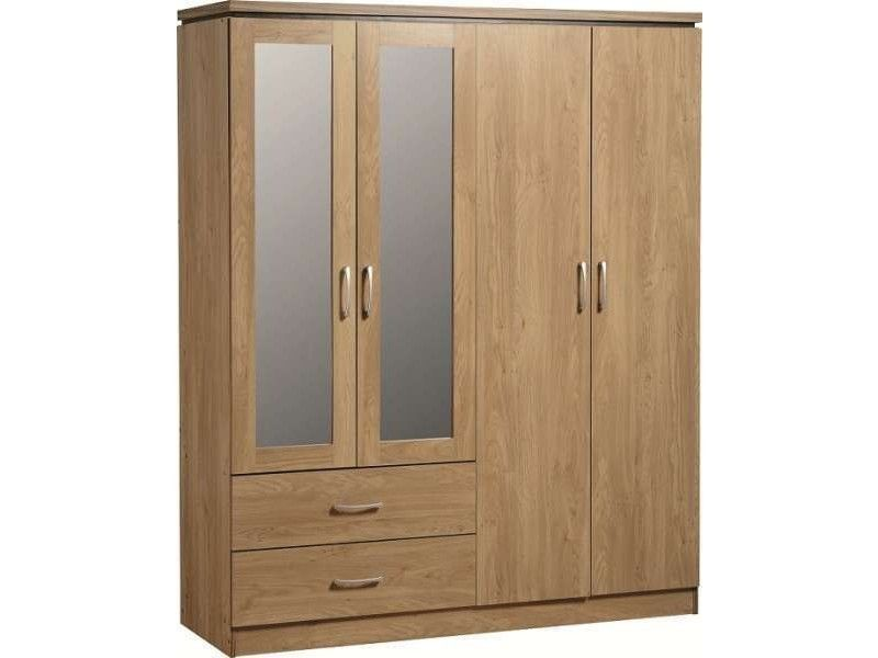 Charles Oak 4 Door Mirrored Wardrobe