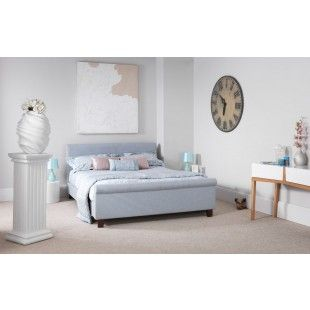 Hazel Ice Blue Fabric Small Double 4ft Bedframe