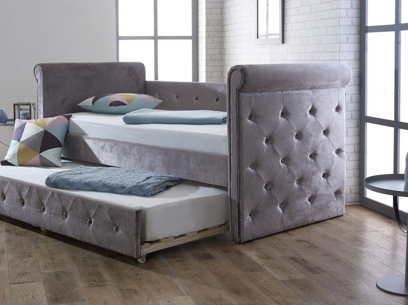 limelight beds zodiac plush silver fabric single day bed. Black Bedroom Furniture Sets. Home Design Ideas