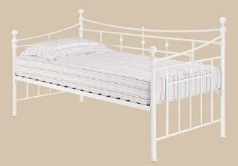 Olivia Metal Bedframe W/ Trundle 3'0 Single White