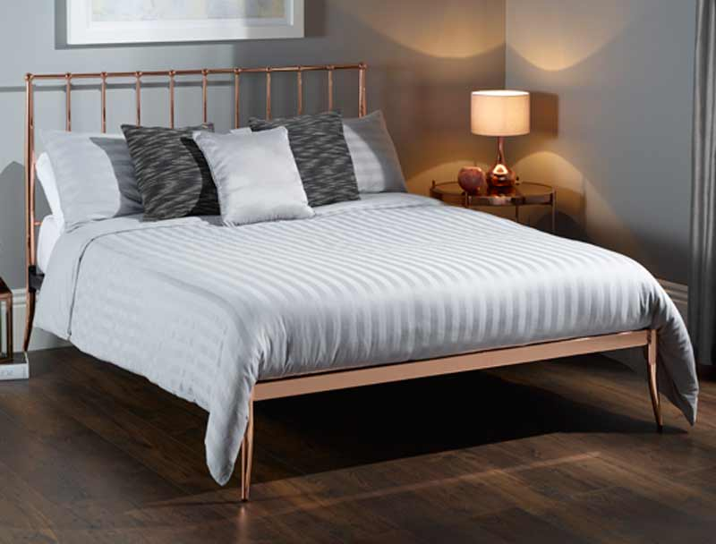 Saturn Small Double 4 0 Metal Bedframe Rose Gold
